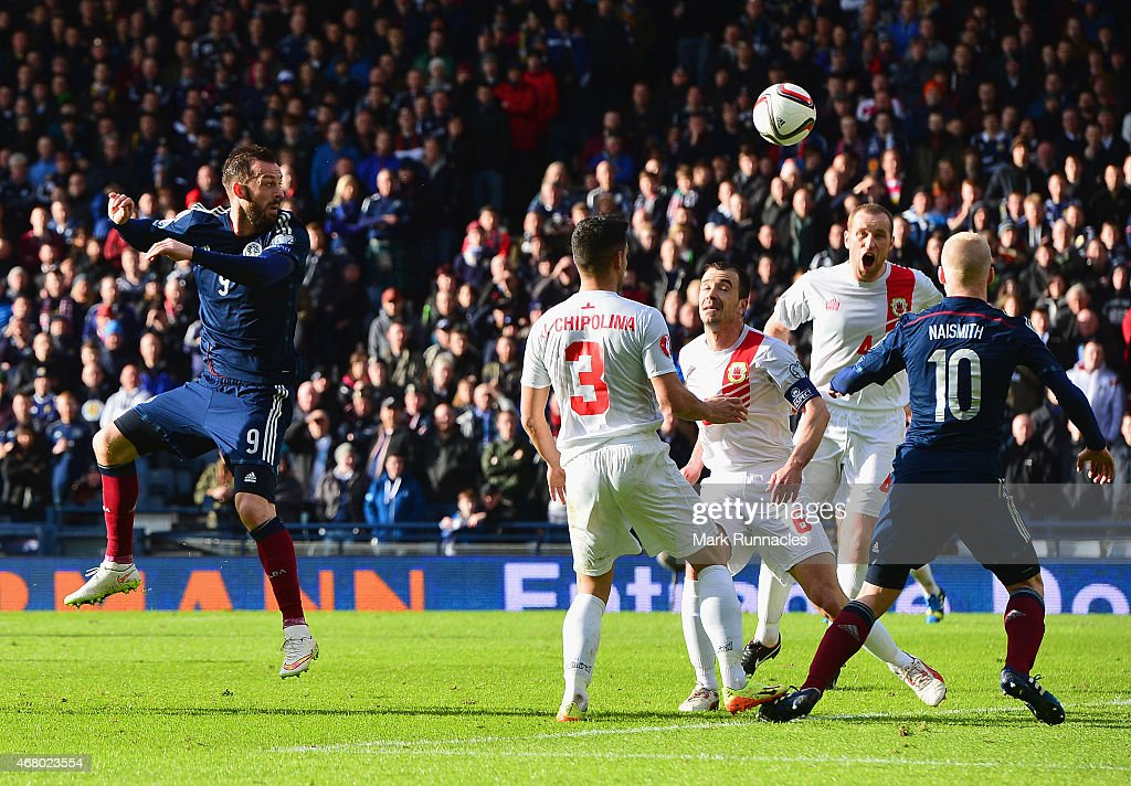 Steven Fletcher of Scotland scores their second goal during the EURO 2016 Qualifier match between Scotland and Gibraltar at Hampden Park on March 29, 2015 in Glasgow, Scotland.