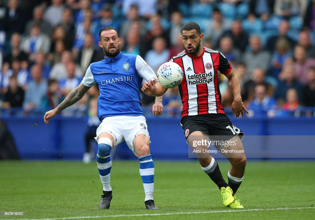 Steven Fletcher of Sheffield Wednesday and Cameron Carter-Vickers of Sheffield United battle for the ball during the Sky Bet Championship match between Sheffield Wednesday and Sheffield United at Hillsborough on September 24, 2017 in Sheffield, England.