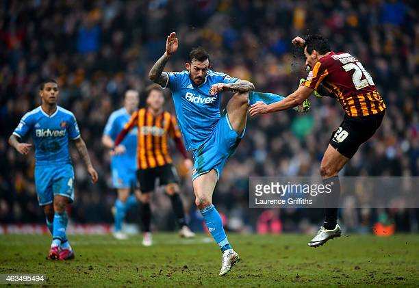 Steven Fletcher of Sunderland battles for the ball with Filipe Morais of Bradford during the FA Cup Fifth Round match between Bradford City and...