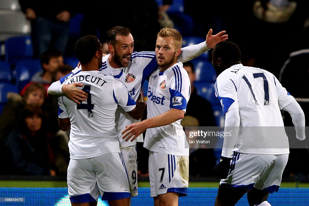 Steven Fletcher of Sunderland celebrates after scoring his team's third goal during the Barclays Premier League match between Crystal Palace and...