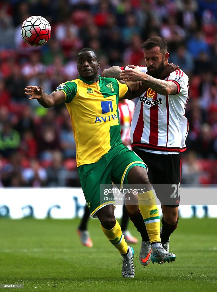 Steven Fletcher of Sunderland in action with Sebastien Bassong of Norwich City during the Barclays Premier League match between Sunderland and...