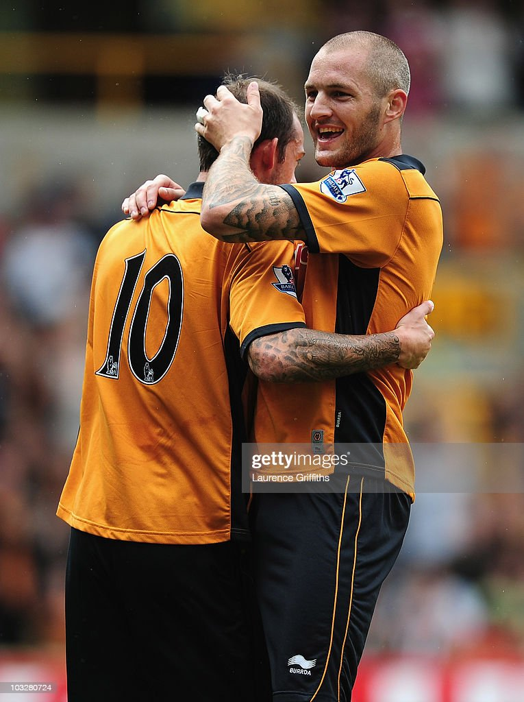 Steven Fletcher of Wolverhampton Wanderers is congratulated on scoring by Jelle Van Damme during the Pre Season Friendly match between Wolverhampton Wanderers and Atletico Blbao at Molineux on August 7, 2010 in Wolverhampton, England.