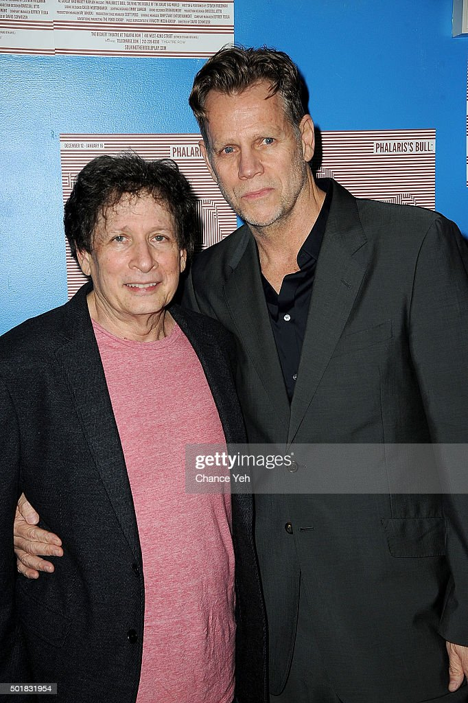 Steven Friedman (L) and Al Corley attend 'Phalaris's Bull: Solving The Riddle Of The Great Big World' opening night at Beckett Theatre on December 17, 2015 in New York City.
