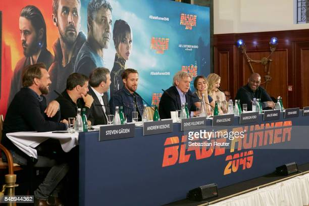 Steven Gaetjen Andrew Kosove Denis Villeneuve Ryan Gosling Harrison Ford Ana de Armas Sylvia Hoeks and Broderick Johnson are seen at a press panel at...