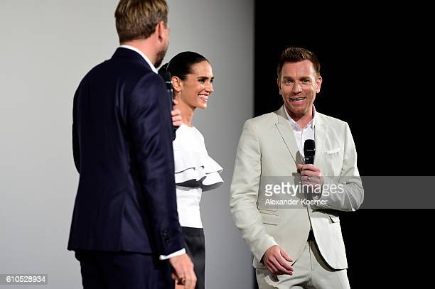 Steven Gaetjen interviews Jennifer Connelly and Ewan McGregor on stage of the 'American Pastoral' Premiere during the 12th Zurich Film Festival on...