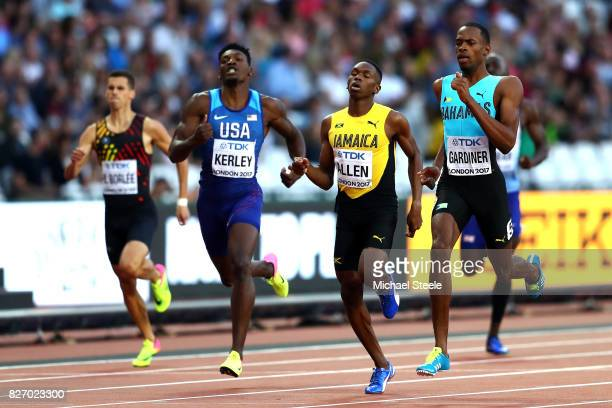 Steven Gardiner of the Bahamas Nathon Allen of Jamaica and Fred Kerley of the United States compete in the Men's 400 metres semi finals during day...