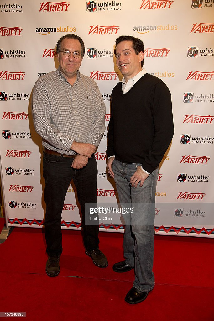 Steven Gaydos (executive editor Variety) and MIchael Lewis (Amazon studios) arrives at the red carpet for the 12th Annual Whistler Film Festival - In Conversation With Variety's 10 Screenwriters To Watch on December 1, 2012 in Whistler, Canada.