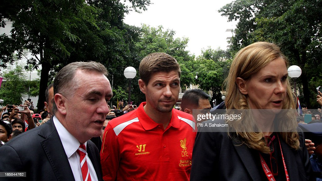 Steven Gerrard and Ian Ayre managing director of Liverpool FC arriving at Siriraj hospital to pay tribute to their Majesties the King and Queen of...