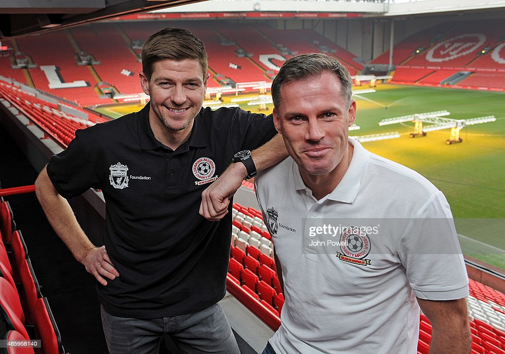Steven Gerrard and Jamie Carragher of Liverpool during a press conference prior the All-Star Charity Match at Anfield on March 12, 2015 in Liverpool, England.