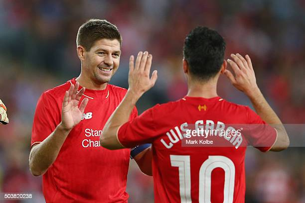 Steven Gerrard and Luis Garcia of the Liverpool FC Legends celebrate after Garcia scored a goal during the match between Liverpool FC Legends and the...