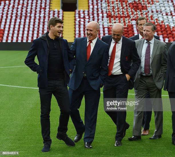 Steven Gerrard and Phil Neal during the Kenny Dalglish Stand unveiling on October 13 2017 in Liverpool United Kingdom