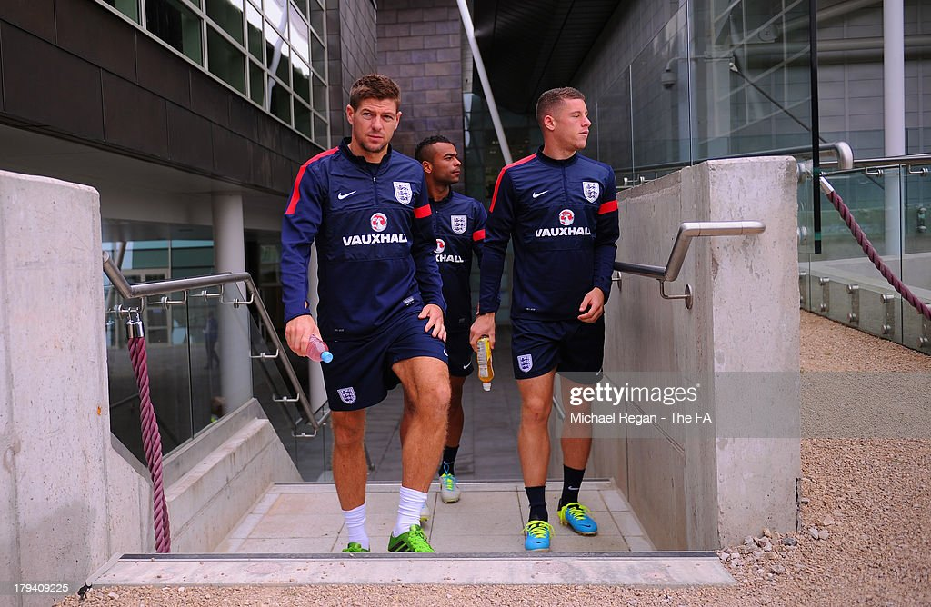 Steven Gerrard, Ashley Cole and Ross Barkley during the England training session and press conference at St Georges Park on September 3, 2013 in Burton-upon-Trent, England.