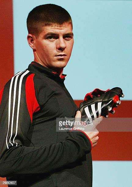 Steven Gerrard at the launch of the new adidas Predator Pulse boot at the adidas Centre on February 5 2004 in Stockport England