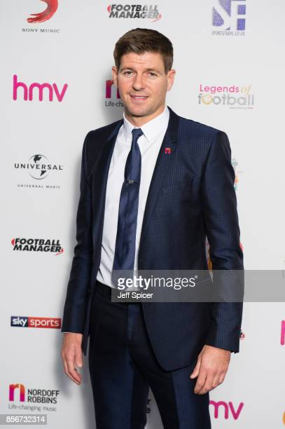 Steven Gerrard attends the Legends of Football fundraiser at The Grosvenor House Hotel on October 2 2017 in London England The annual footballthemed...