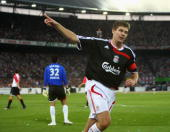 Steven Gerrard celebrates his goal during the Port of Rotterdam Tournament match between Feyenoord and Liverpool at the De Kuip Stadium on August...