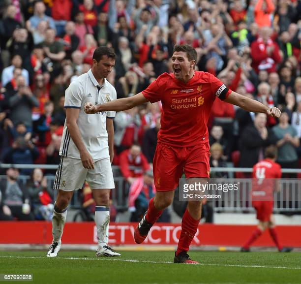 Steven Gerrard celebrates the winner for the Liverpool Legends during the LFC Foundation Charity Match between Liverpool Legends and Real Madrid...