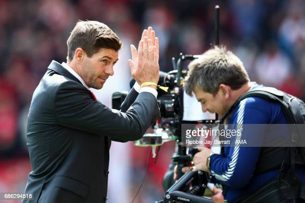 Steven Gerrard ex Liverpool player and head coach / manager of Liverpool Under 18's during the Premier League match between Liverpool and...