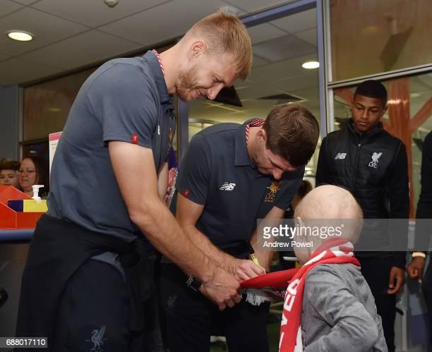 Steven Gerrard ex player for Liverpool and Ragnar Klavan of Liverpool during a visit to Sydney Children's Hospital on May 25 2017 in Sydney Australia