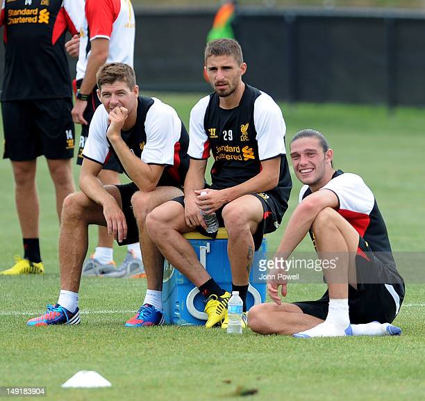 Steven Gerrard Fabio Borini and Andy Carroll of Liverpool during a training session at Harvard University on July 24 2012 in Boston Massachusetts