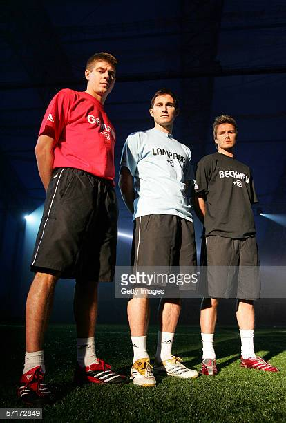 Steven Gerrard Frank Lampard and David Beckham pose during the adidas 10 World Cup Event at the David Beckham Academy on March 23 2006 in Greenwich...