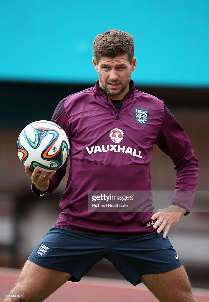 <a gi-track='captionPersonalityLinkClicked' href=/galleries/search?phrase=Steven+Gerrard&family=editorial&specificpeople=202052 ng-click='$event.stopPropagation()'>Steven Gerrard</a> in action during an England training session at The Sunlife Stadium on June 3, 2014 in Miami, Florida. England are in Florida for warm up matches ahead of the FIFA World Cup Brazil 2014