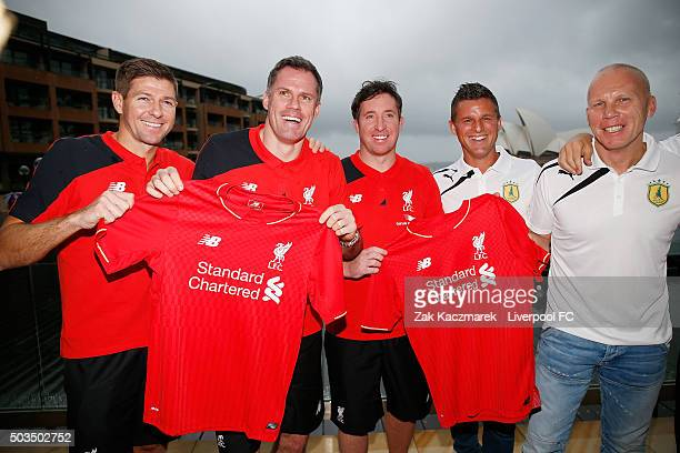 Steven Gerrard Jamie Carragher Robbie Fowler Jason Culina and Robbie Slater pose at the Park Hyatt Hotel on January 6 2016 in Sydney Australia