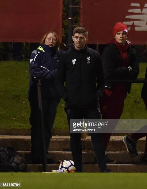 Steven Gerrard manager of Liverpool U18's during the U18 Premier League match between Liverpool U18 and Manchester City U18 at The Academy on...