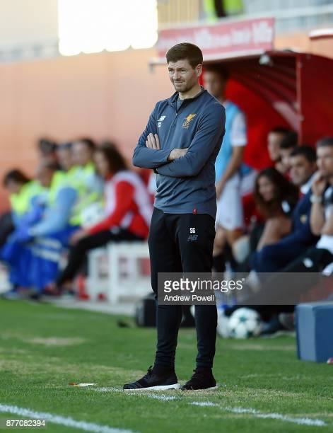 Steven Gerrard manager of Liverpool U19 during the UEFA Champions League group E match between Sevilla FC U19 and Liverpool FC U19 at Estadio Viejo...