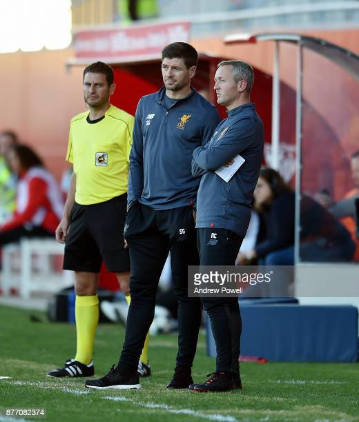 Steven Gerrard manager of Liverpool U19's with Neil Critchley during the UEFA Champions League group E match between Sevilla FC U19 and Liverpool FC...