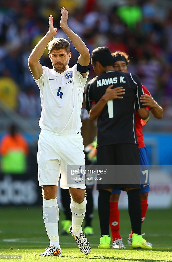 Steven Gerrard of England acknowledges the fans after a 0-0 draw during the 2014 FIFA World Cup Brazil Group D match between Costa Rica and England at Estadio Mineirao on June 24, 2014 in Belo Horizonte, Brazil.
