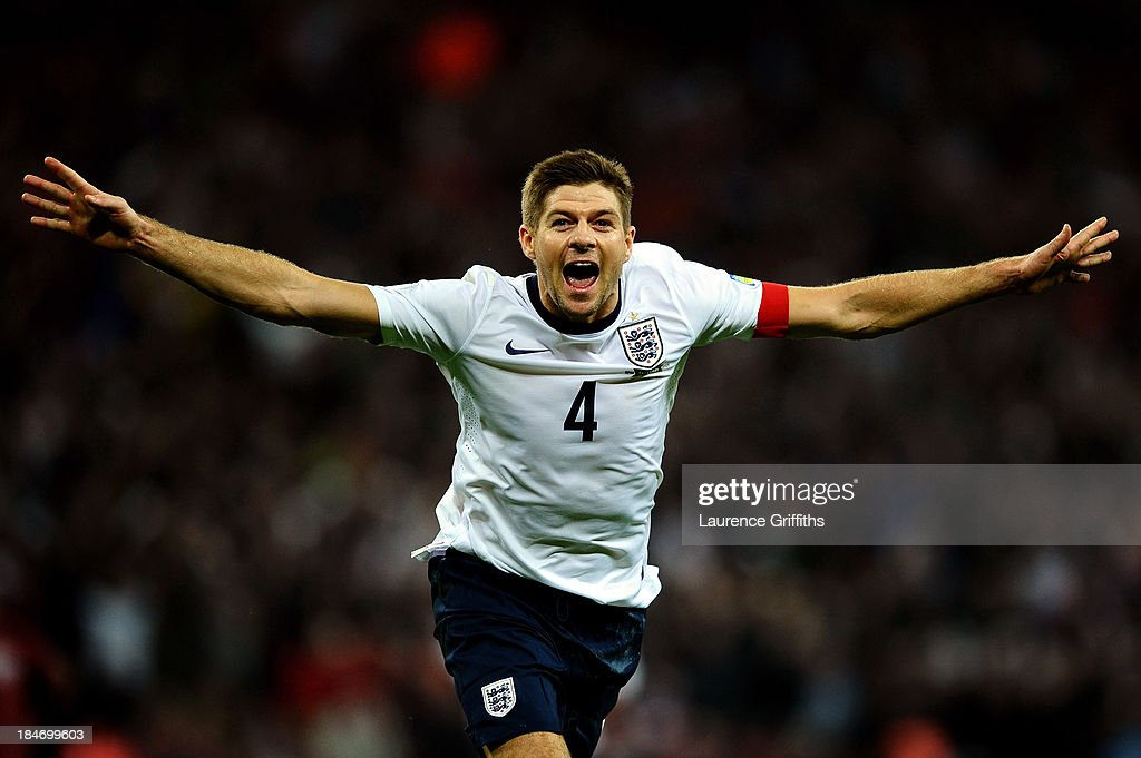 Steven Gerrard of England celebrates as he scores their second goal during the FIFA 2014 World Cup Qualifying Group H match between England and Poland at Wembley Stadium on October 15, 2013 in London, England.