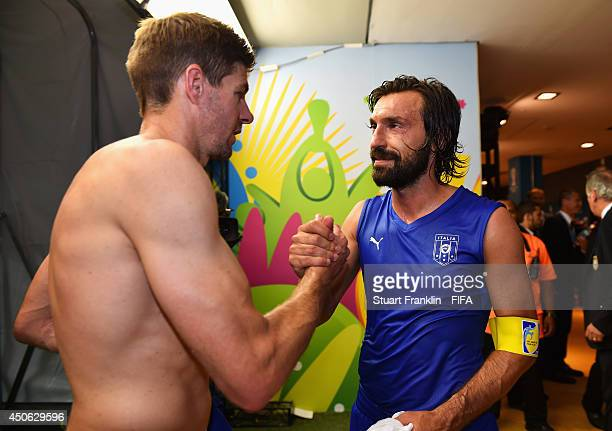 Steven Gerrard of England congratualates Andrea Pirlo of Italy after the 2014 FIFA World Cup Brazil Group D match between England and Italy at Arena...