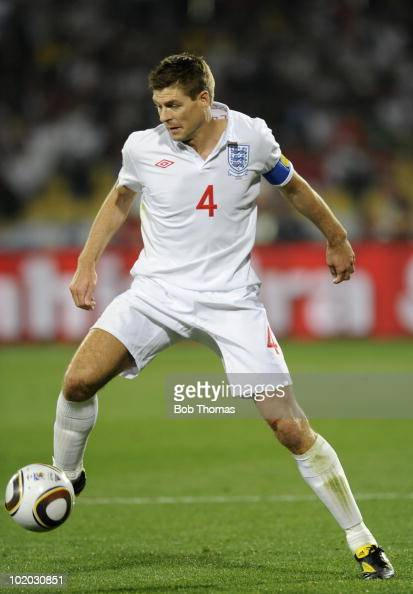 Steven Gerrard of England during the 2010 FIFA World Cup South Africa Group C match between England and USA at the Royal Bafokeng Stadium on June 12...