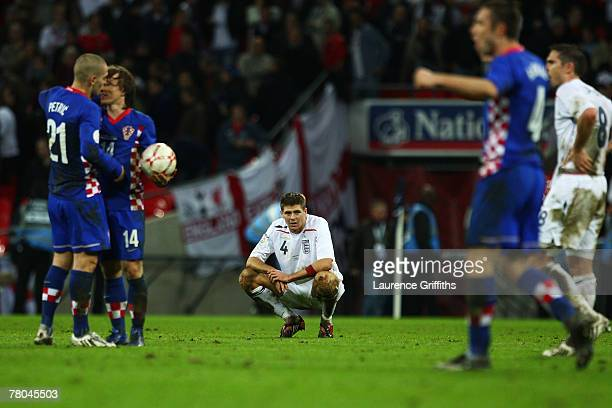 Steven Gerrard of England looks dejected after the Euro 2008 Group E qualifying match between England and Croatia at Wembley Stadium on November 21...