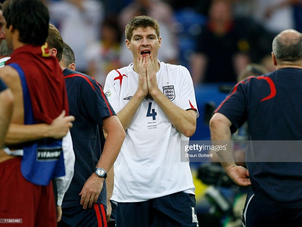 Steven Gerrard of England looks dejected following defeat during the FIFA World Cup Germany 2006 Quarter-final match between England and Portugal played at the Stadium Gelsenkirchen on July 1, 2006 in Gelsenkirchen, Germany.