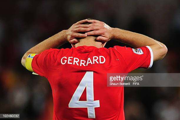 Steven Gerrard of England reacts with dejection after the 2010 FIFA World Cup South Africa Round of Sixteen match between Germany and England at Free...