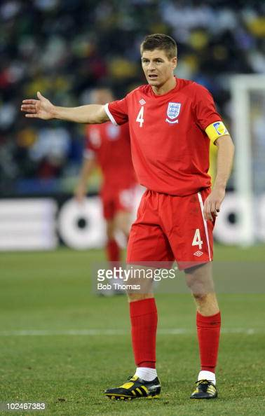 Steven Gerrard of England stands during the 2010 FIFA World Cup South Africa Round of Sixteen match between Germany and England at Free State Stadium...