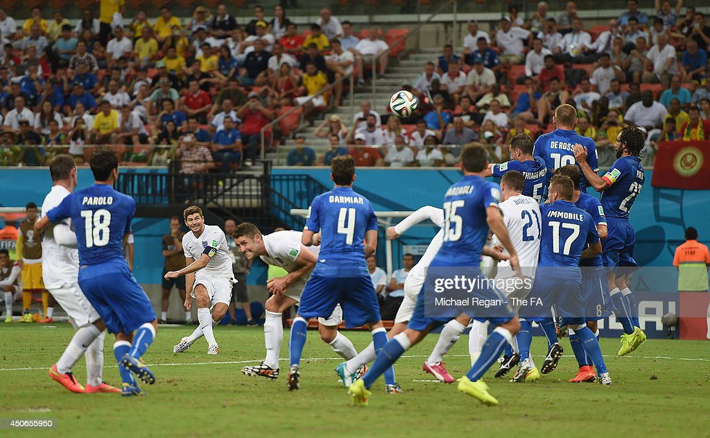 Steven Gerrard of England takes a free kick during the 2014 FIFA World Cup Brazil Group D match between England and Italy at Arena Amazonia on June 14, 2014 in Manaus, Brazil.