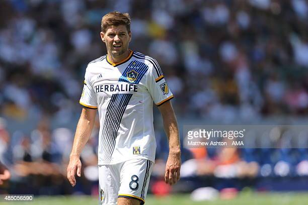 Steven Gerrard of LA Galaxy during the MLS match between Los Angeles Galaxy and New York City FC at StubHub Center on August 23 2015 in Los Angeles...