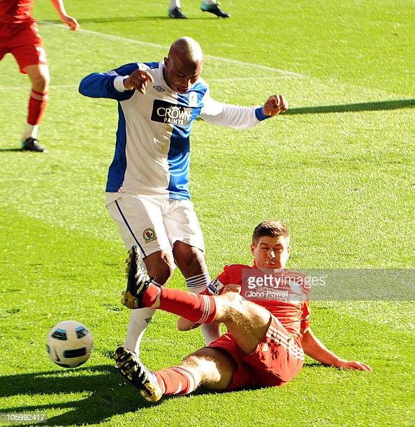 Steven Gerrard of Liverpool and ElHadji Diouf of Blackburn Rovers during the Barclays premier league match between Liverpool and Blackburn Rovers at...