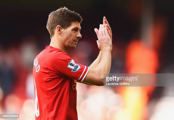 Steven Gerrard of Liverpool applauds the crowd after the Barclays Premier League match between Liverpool and Newcastle United at Anfield on May 11...