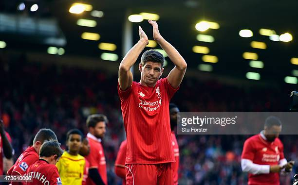 Steven Gerrard of Liverpool applauds the Kop end after he Barclays Premier League match betrween Liverpool and Crystal Palace at Anfield on May 16...