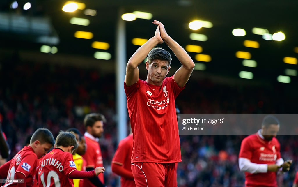 <a gi-track='captionPersonalityLinkClicked' href=/galleries/search?phrase=Steven+Gerrard&family=editorial&specificpeople=202052 ng-click='$event.stopPropagation()'>Steven Gerrard</a> of Liverpool applauds the Kop end after he Barclays Premier League match betrween Liverpool and Crystal Palace at Anfield on May 16, 2015 in Liverpool, England.