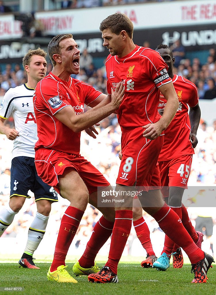 Steven Gerrard of Liverpool celebrates after scoring from the spot during the Barclays Premier League match between Tottenham Hotspur and Liverpool at White Hart Lane on August 31, 2014 in London, England.