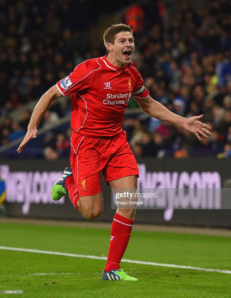 Steven Gerrard of Liverpool celebrates after scoring his team's second goal during the Barclays Premier League match between Leicester City and Liverpool at The King Power Stadium on December 2, 2014 in Leicester, England.