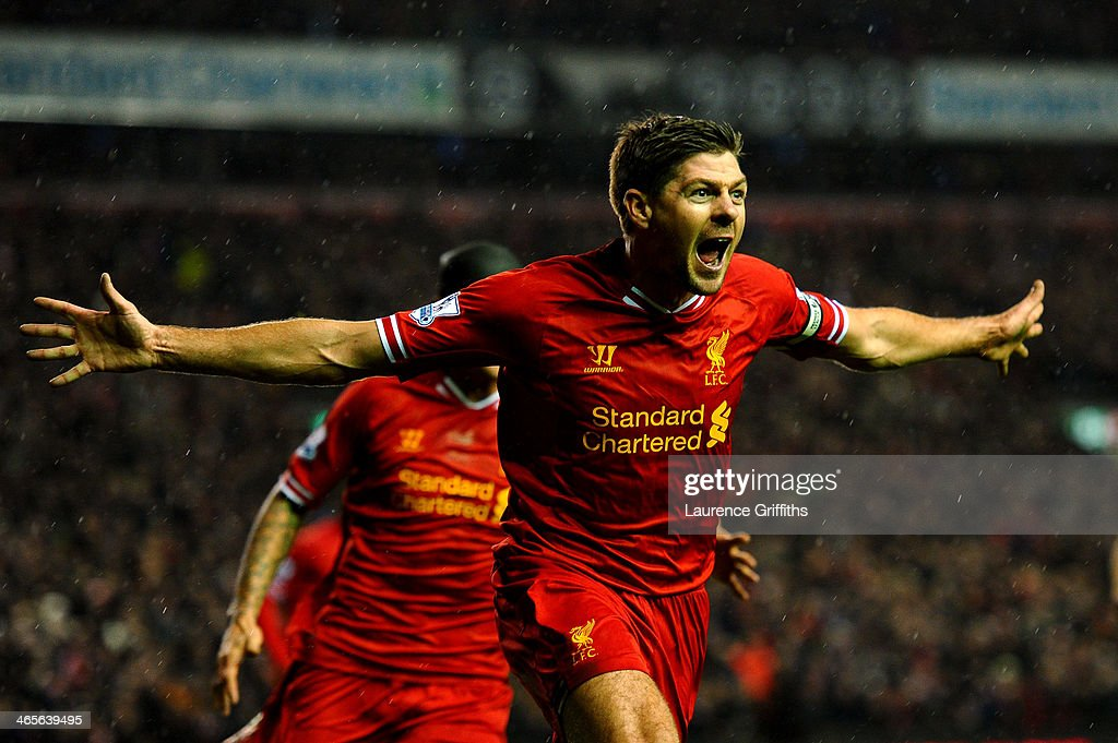 <a gi-track='captionPersonalityLinkClicked' href=/galleries/search?phrase=Steven+Gerrard&family=editorial&specificpeople=202052 ng-click='$event.stopPropagation()'>Steven Gerrard</a> of Liverpool celebrates after scoring the opening goal during the Barclays Premier League match between Liverpool and Everton at Anfield on January 28, 2014 in Liverpool, England.