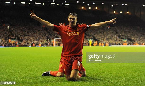 Steven Gerrard of Liverpool celebrates after scoring the second goal during the Barclays Premier League match between liverpool and Fulham at Anfield...