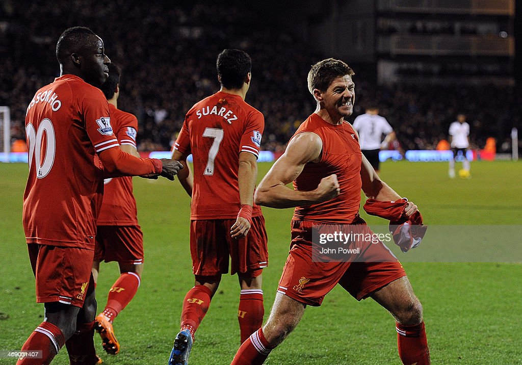 <a gi-track='captionPersonalityLinkClicked' href=/galleries/search?phrase=Steven+Gerrard&family=editorial&specificpeople=202052 ng-click='$event.stopPropagation()'>Steven Gerrard</a> of Liverpool celebrates after scoring the winning goal during the Barclays Premier Leauge match between Fulham and Liverpool at Craven Cottage on February 12, 2014 in London, England.