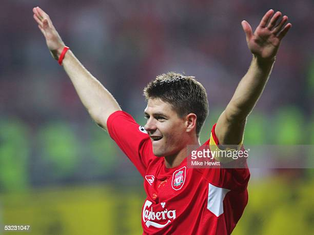 Steven Gerrard of Liverpool celebrates following victory in the UEFA Champions League Final between Liverpool and AC Milan on May 25 2005 at the...