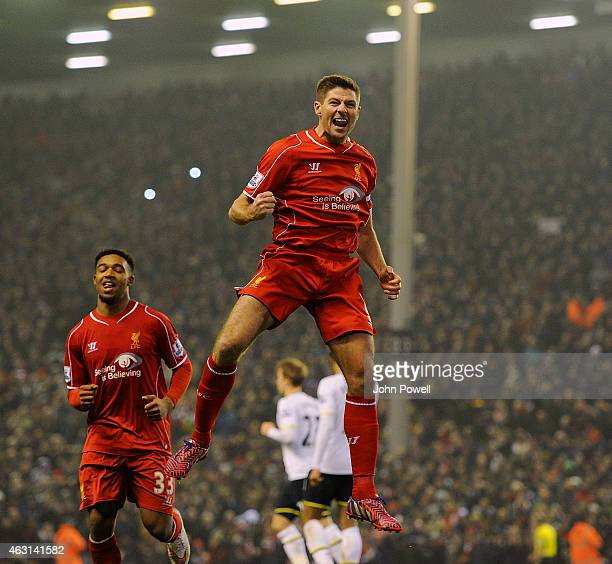 Steven Gerrard of Liverpool celebrates his goal to make it 21 during the Barclays Premier League match between Liverpool and Tottenham Hotspur at...